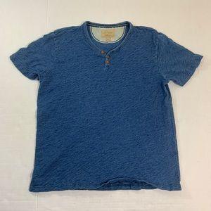Lucky Brand California Blue Henley Tee Shirt L